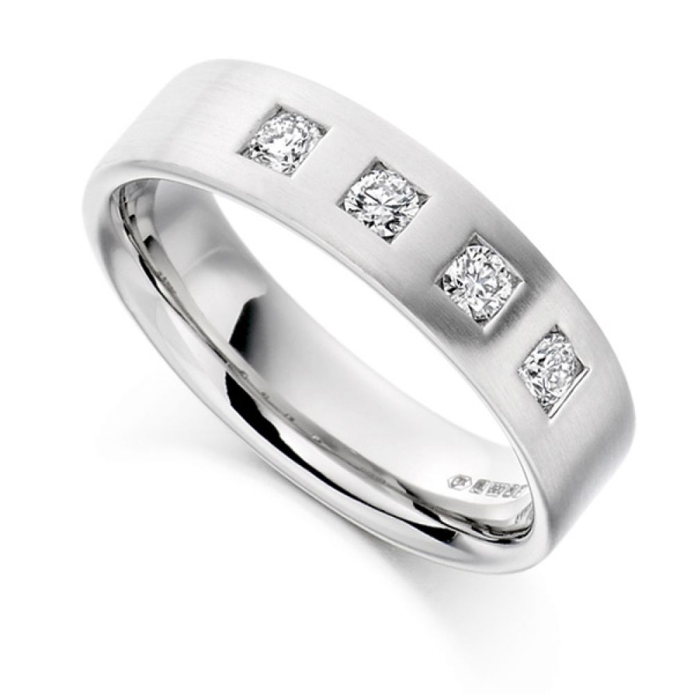 0.33cts Men's 4 Stone Diamond Wedding Ring
