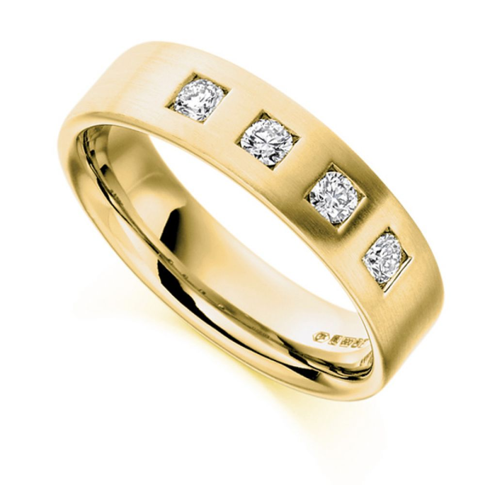 0.33cts Men's 4 Stone Diamond Wedding Ring In Yellow Gold