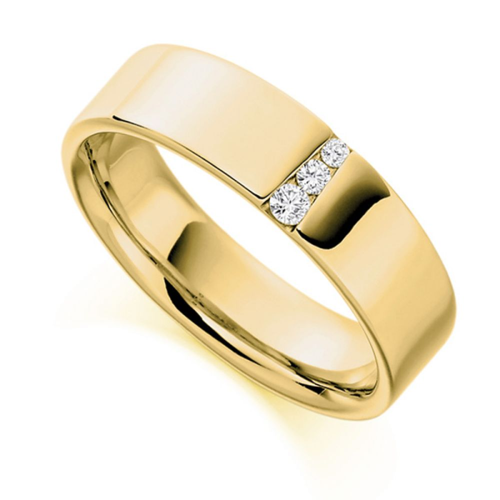 0.10cts Graduated Diamond Wedding Ring for Men In Yellow Gold