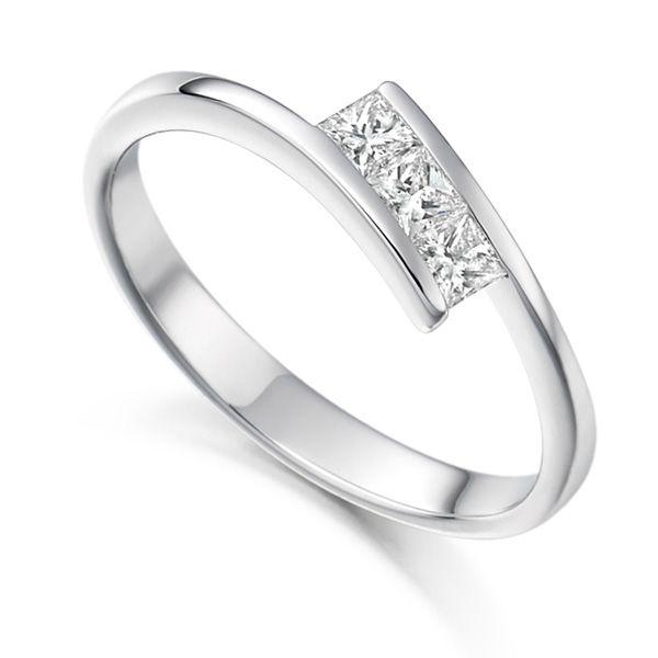 3 Stone Princess Cut Diamond Trilogy Engagement Ring Main Image