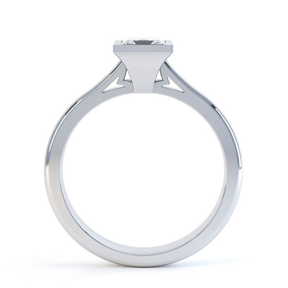 Bezel Set Diamond Engagement Ring Side View
