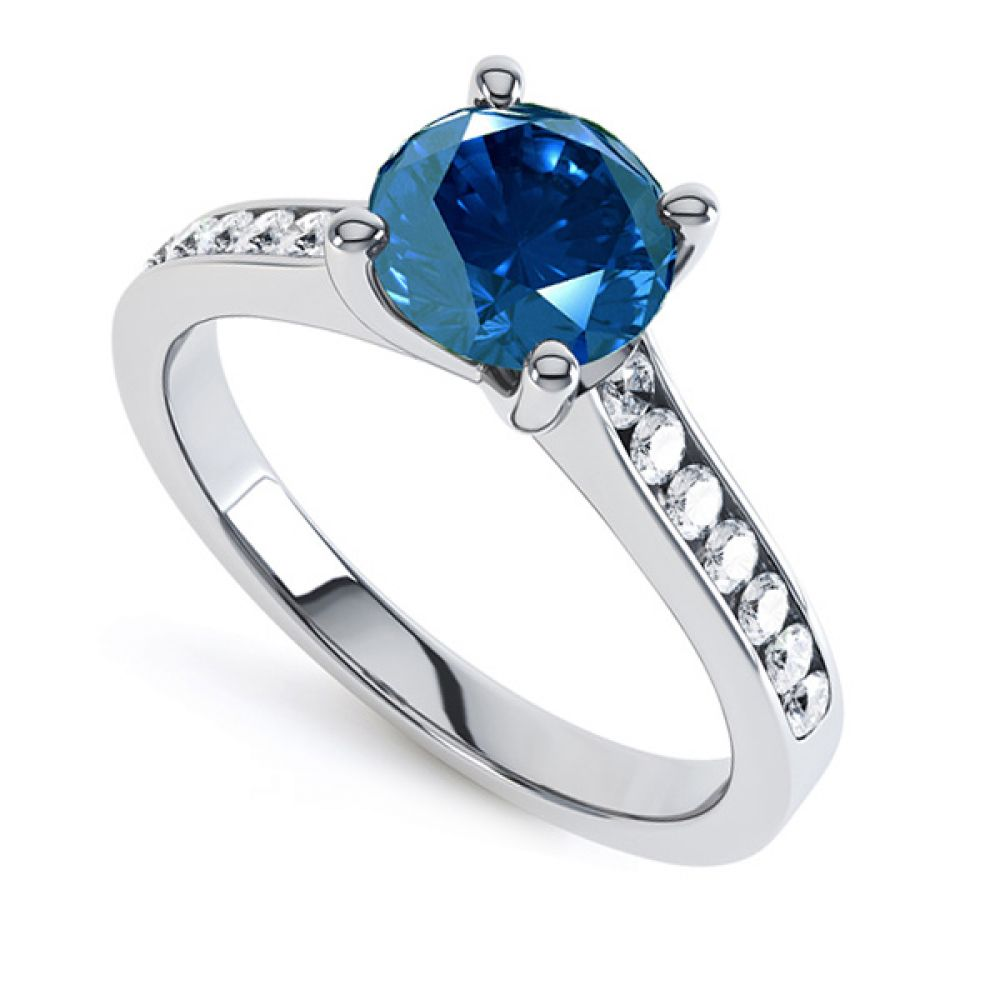 0.70cts Blue Sapphire & Diamond Engagement Ring