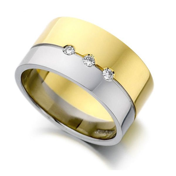 0.09cts Ladies 10mm Gold & Platinum Diamond Ring Main Image