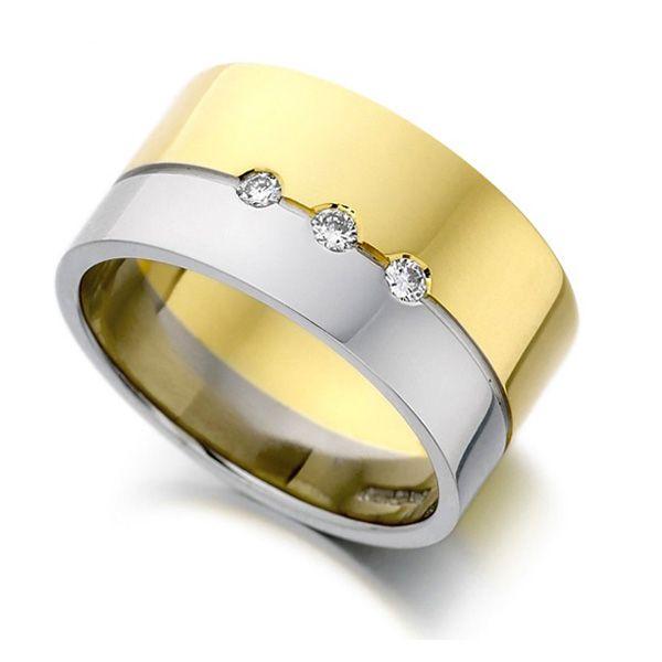 0.09cts Ladies 10mm Gold & Platinum Diamond Ring Main Image