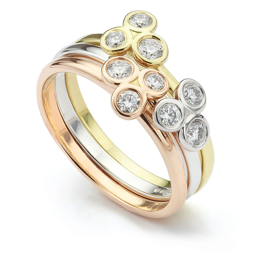 Tri-Colour Stacking Ring in 18ct Rose, White and Yellow Gold