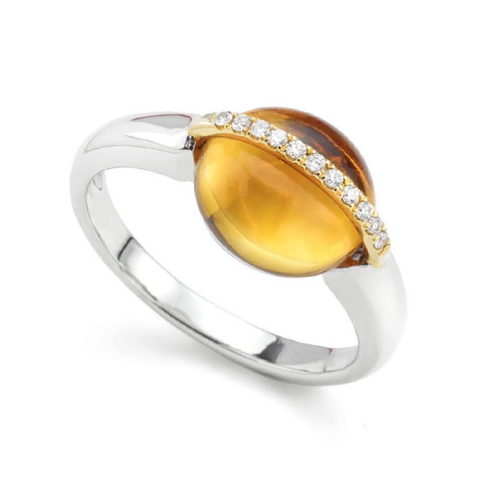 3 Carat Cabochon Citrine and Diamond Ring
