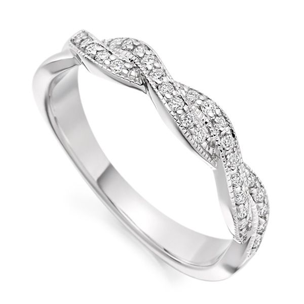 Vintage designed Ribbon Twist WeddingEternity Ring