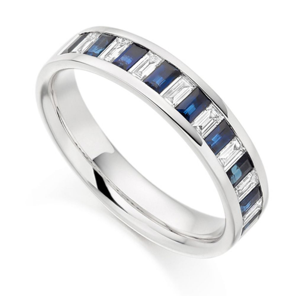 Blue sapphire and Diamond Baguette Cut Eternity Ring
