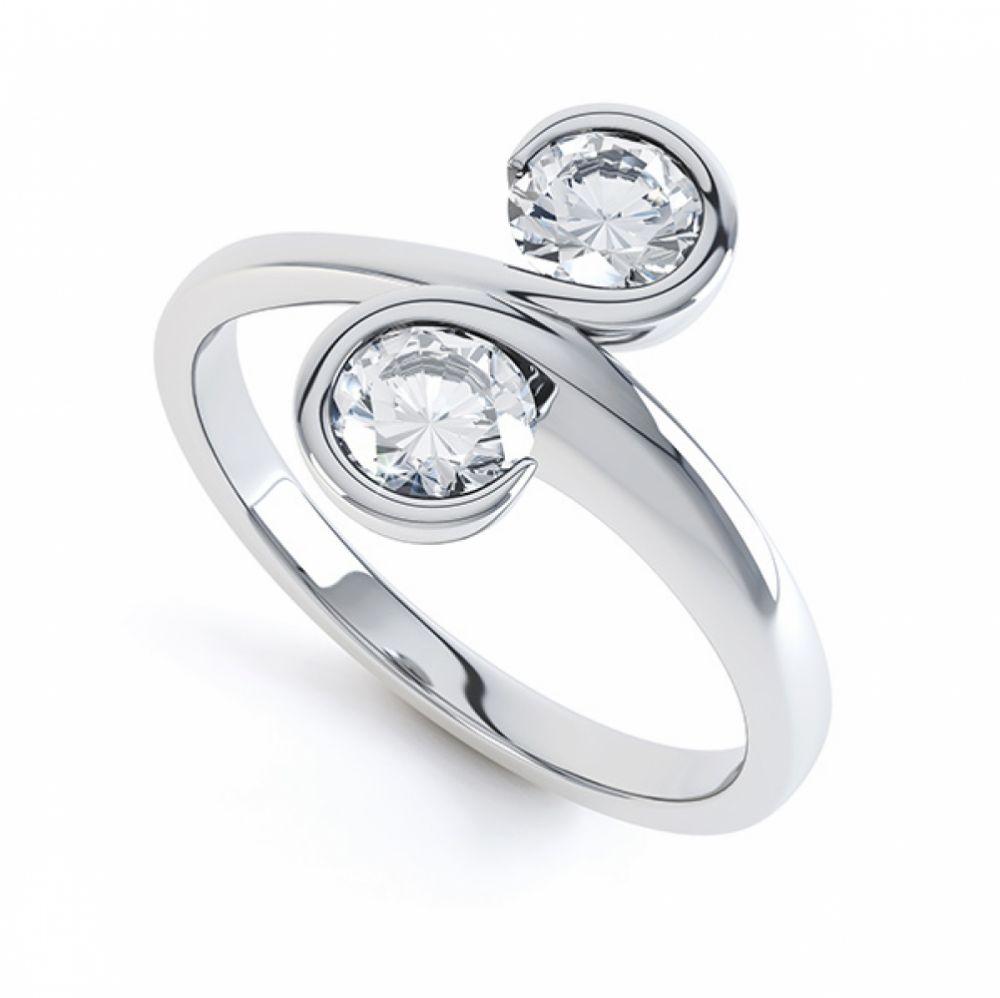 0.50cts 2 Stone Diamond Swirl Engagement Ring