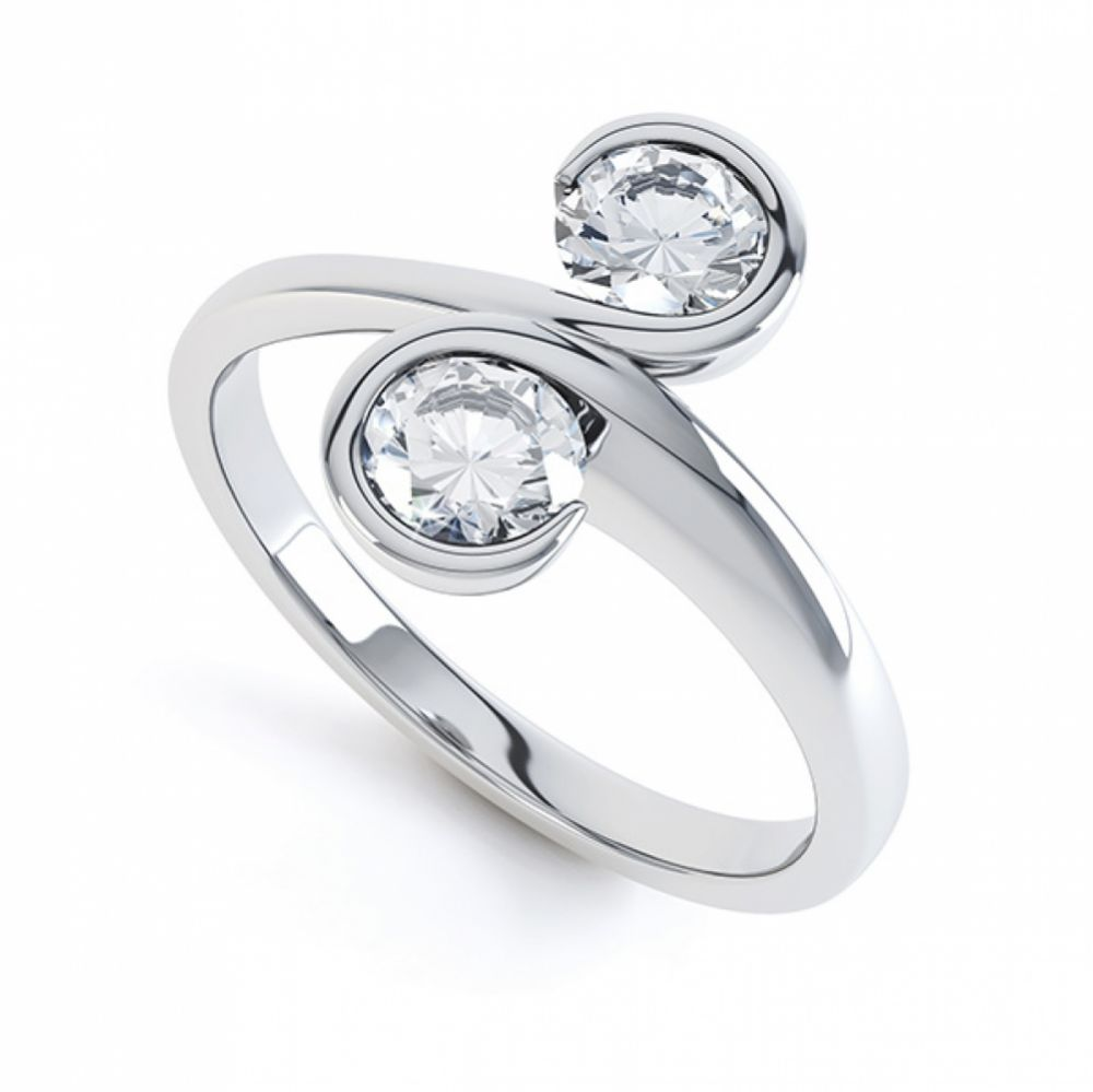0.50cts 2 Stone Diamond Swirl Engagement Ring