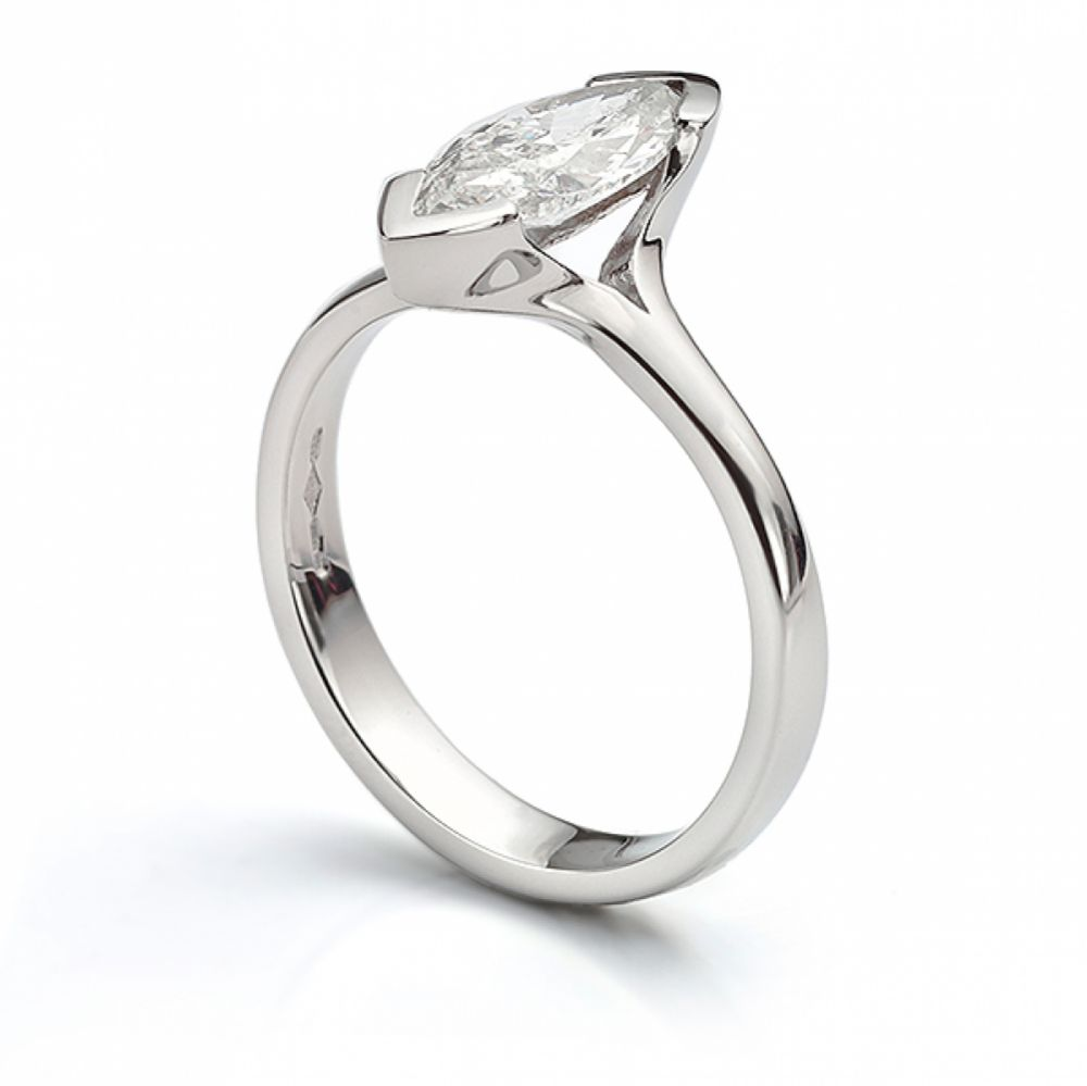1 carat marquise diamond engagement ring side view