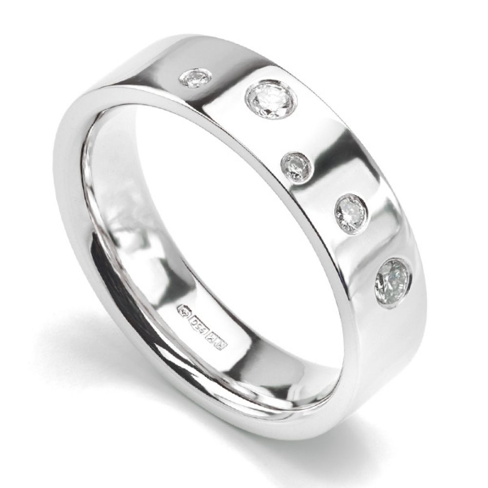 Random Flush Set Diamond Wedding ring
