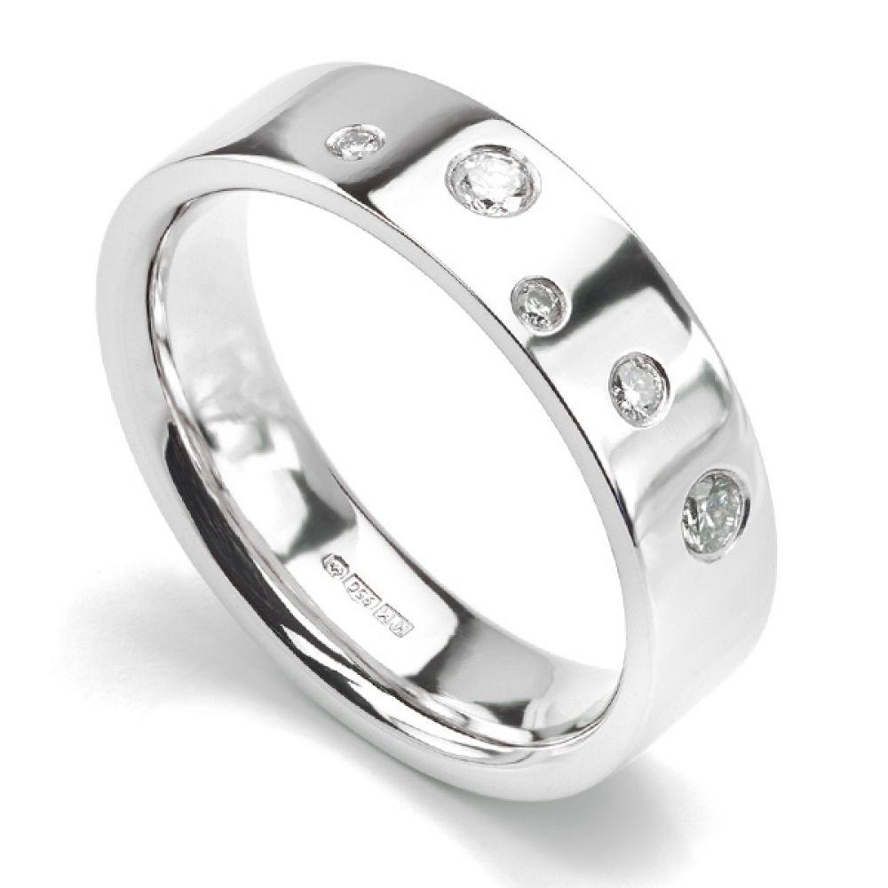 Random Flush Set Diamond Wedding ring