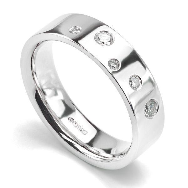 Offer34 Unusual Wedding Band With Random Flush Set Diamonds