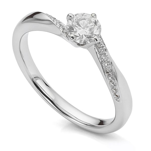 Four-claw Twist Engagement Ring with Twist Shoulders Main Image
