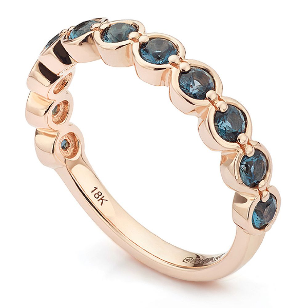 18ct Rose Gold and Blue Topaz Half Eternity Ring