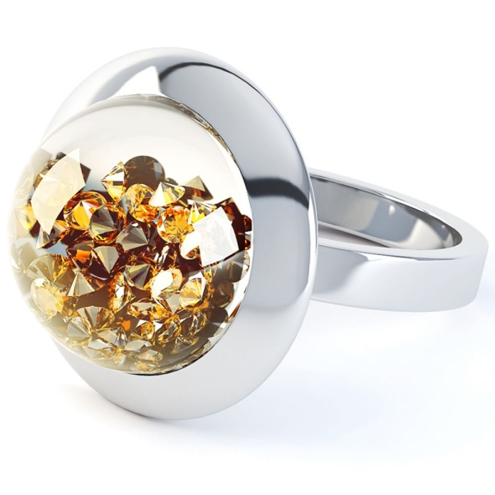 Citrine Gemstone Dome Suspension Ring
