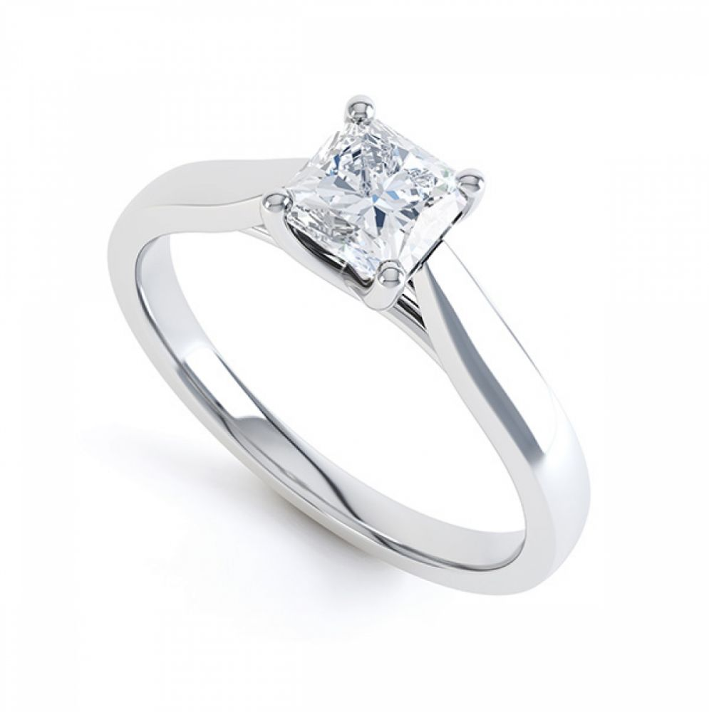 0.25cts four claw radiant cut diamond engagement ring