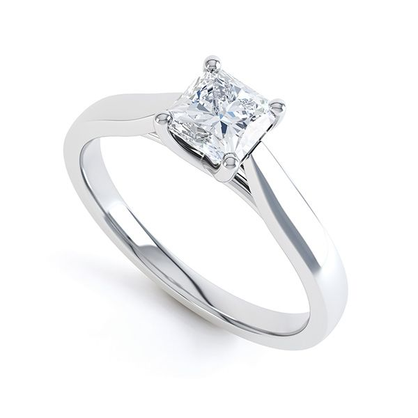 0.25cts four claw radiant cut diamond engagement ring Main Image