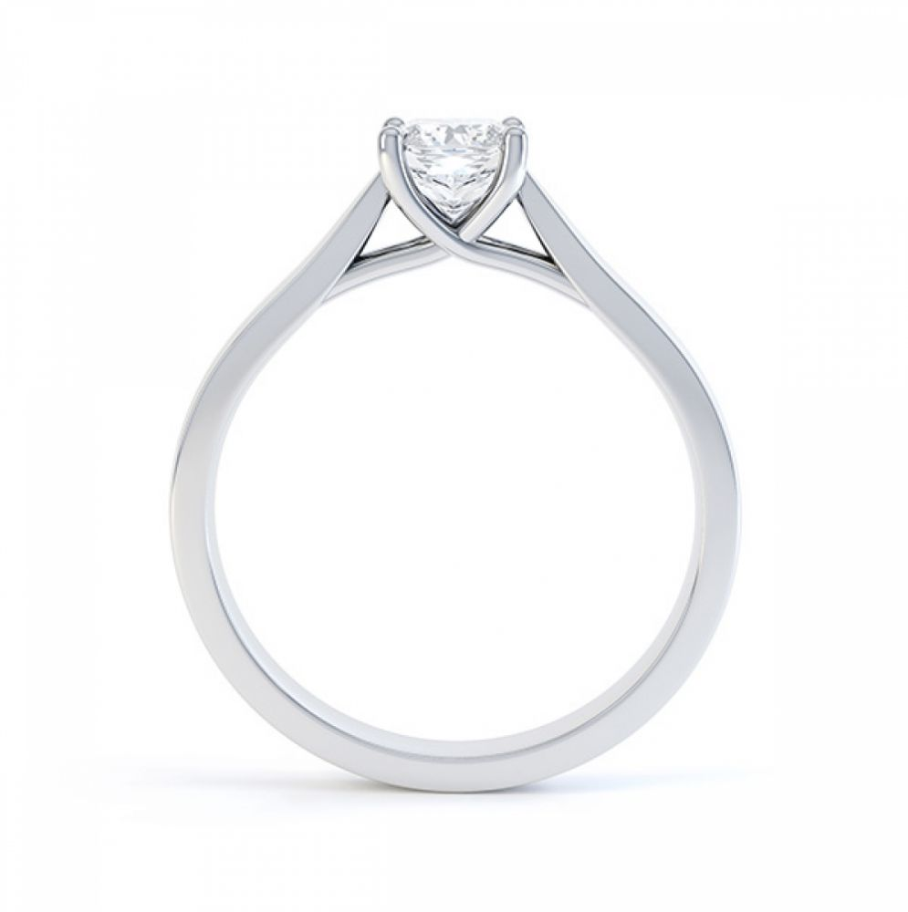 0.25cts four claw radiant cut diamond engagement ring side view