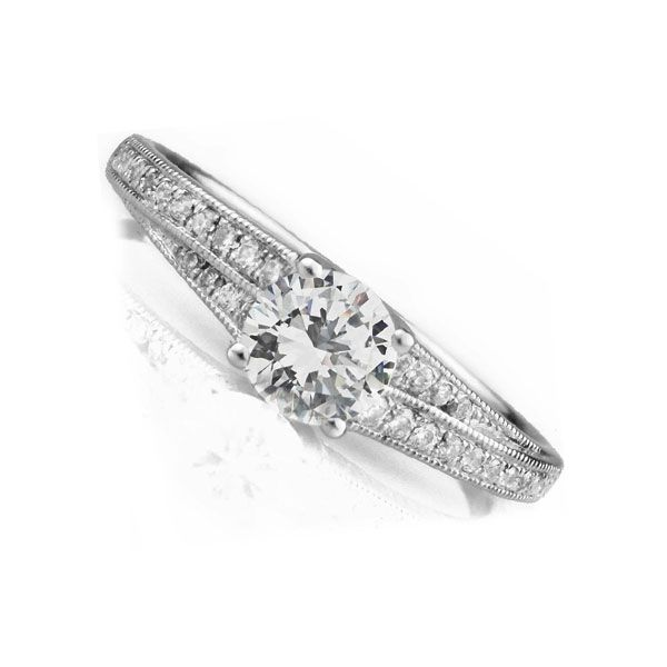 0.25cts Vintage Diamond Engagement Ring with Double Stepped Shoulders Main Image