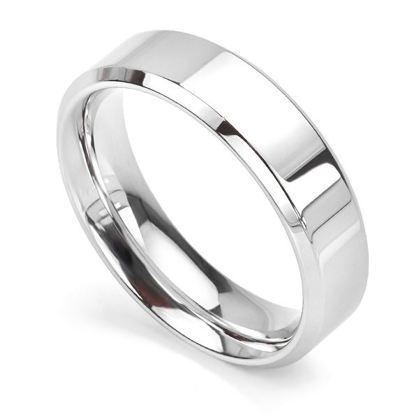 Bevelled Edged Court Profile Wedding Band Main Image