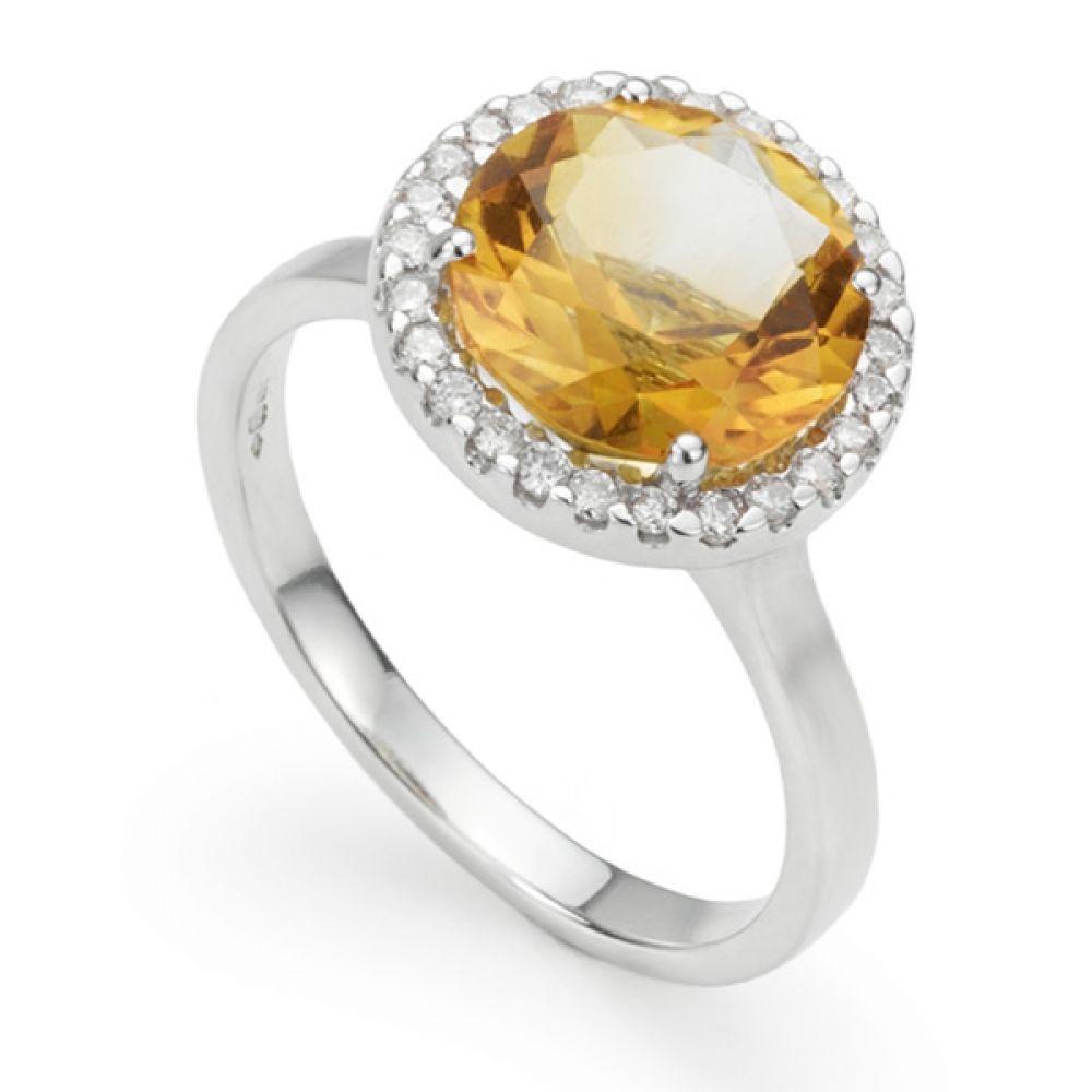 3 Carat Citrine & Diamond Halo Ring
