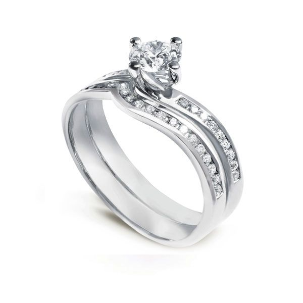Twist Engagement Ring and Wedding Ring Set Main Image