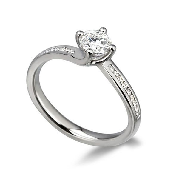 1ct Special Offer Diamond solitaire with Diamond set Shoulders Main Image