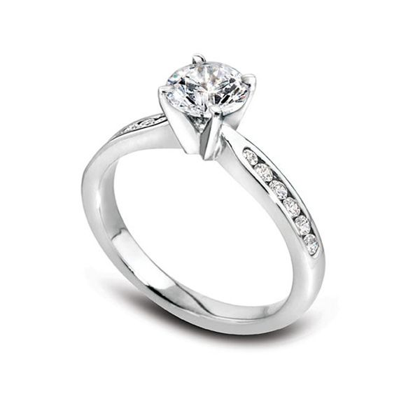 1ct Diamond Solitaire with Diamond set Shoulders Main Image