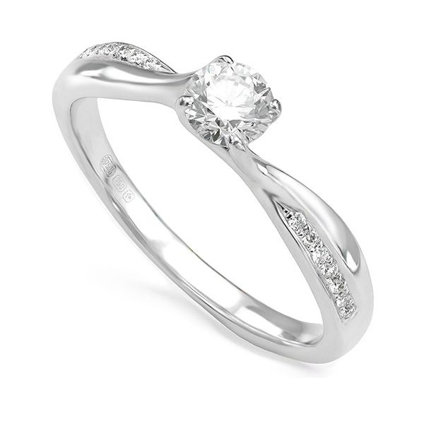 Four-Claw Twist Solitaire with Split Diamond Shoulders Main Image