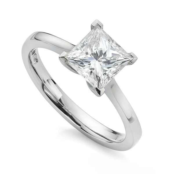 1 Carat Princess Cut Solitaire Engagement Ring Main Image