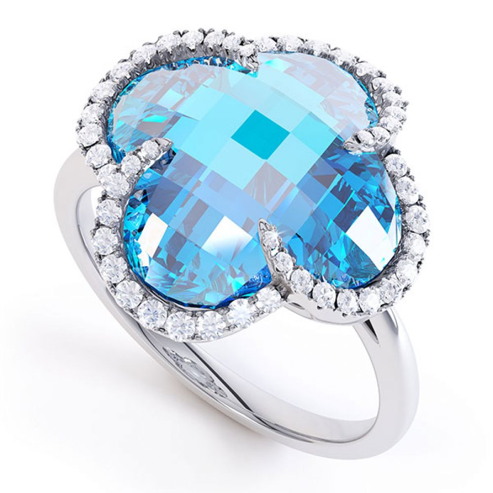 0.22ct Diamond and Blue Topaz Quatrefoil Halo Ring