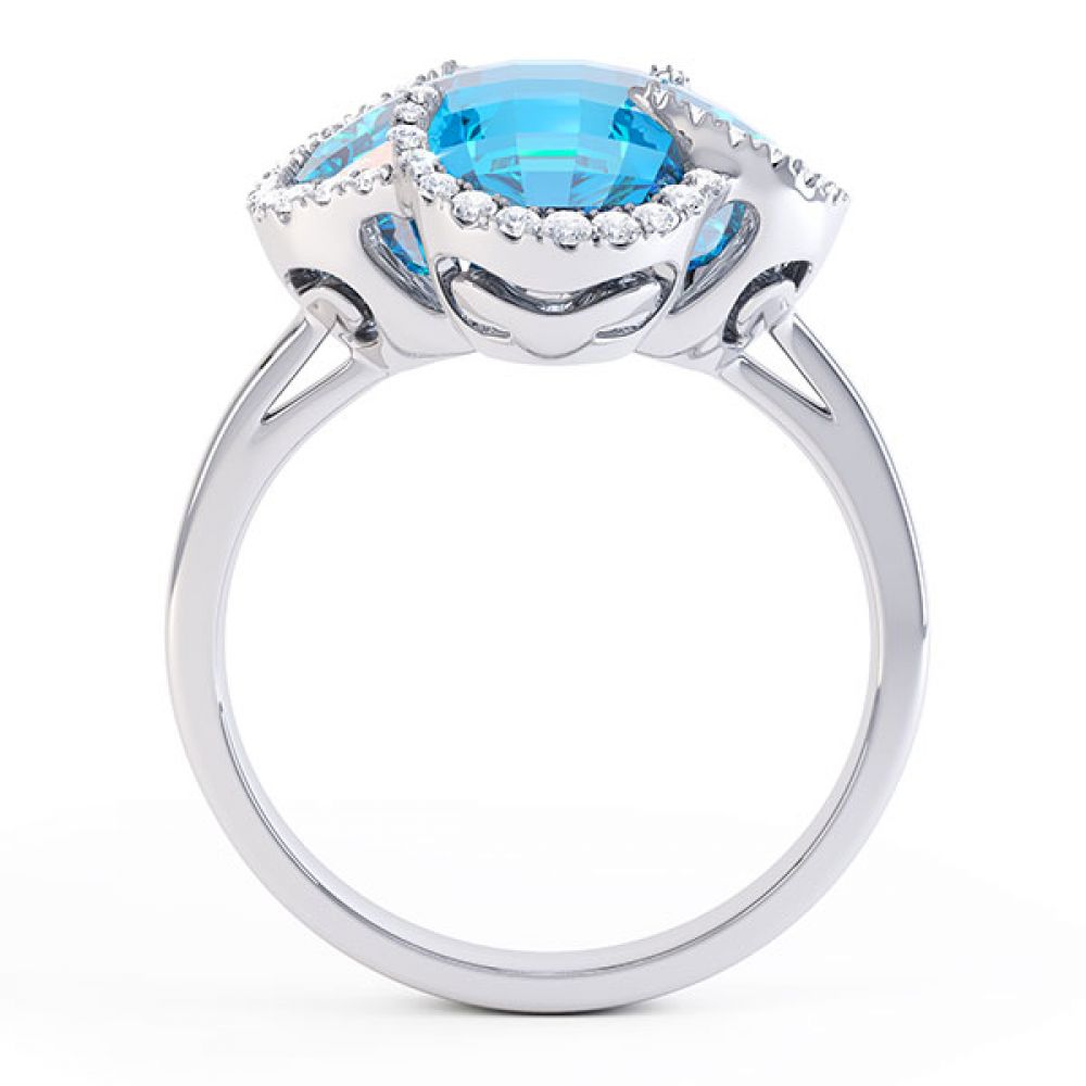 0.22ct Diamond and Blue Topaz Quatrefoil Halo Ring Front View