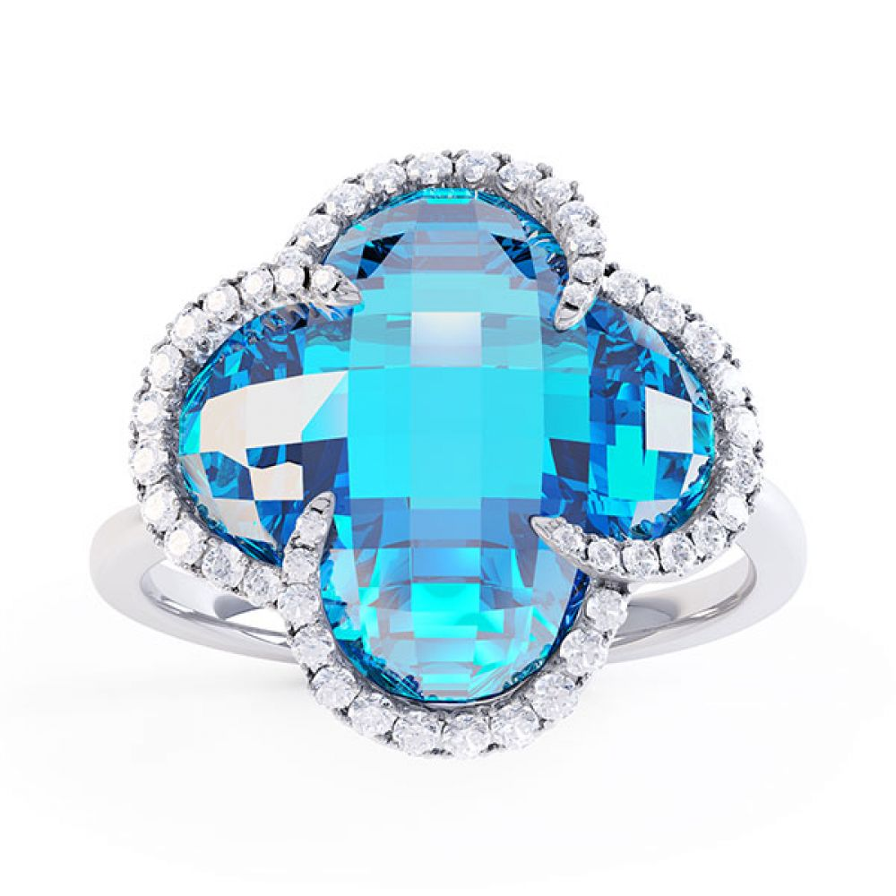 0.22ct Diamond and Blue Topaz Quatrefoil Halo Ring Side View