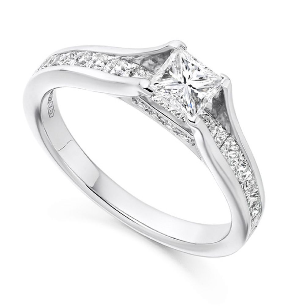 Princess Cut Diamond Engagement With Diamond Set Bridge Design