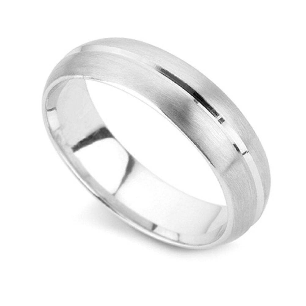 950 Palladium 4mm Groove Patterned Wedding Ring
