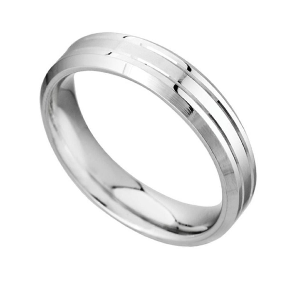 Men's 6mm Patterned Palladium Wedding Ring