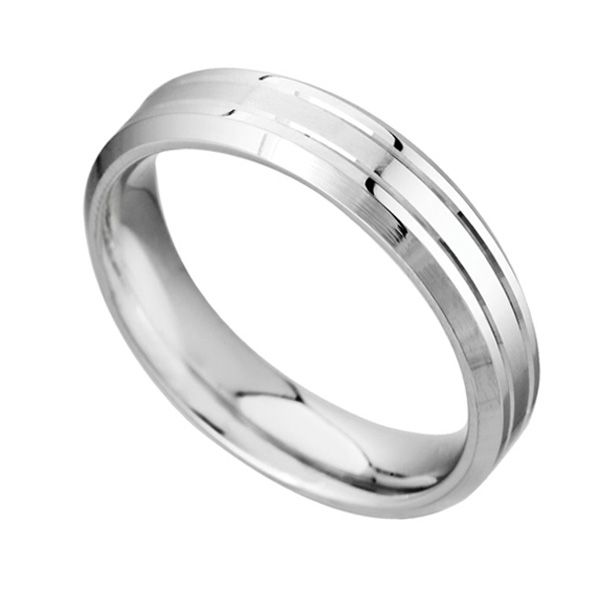 Men's 6mm Patterned Palladium Wedding Ring Main Image