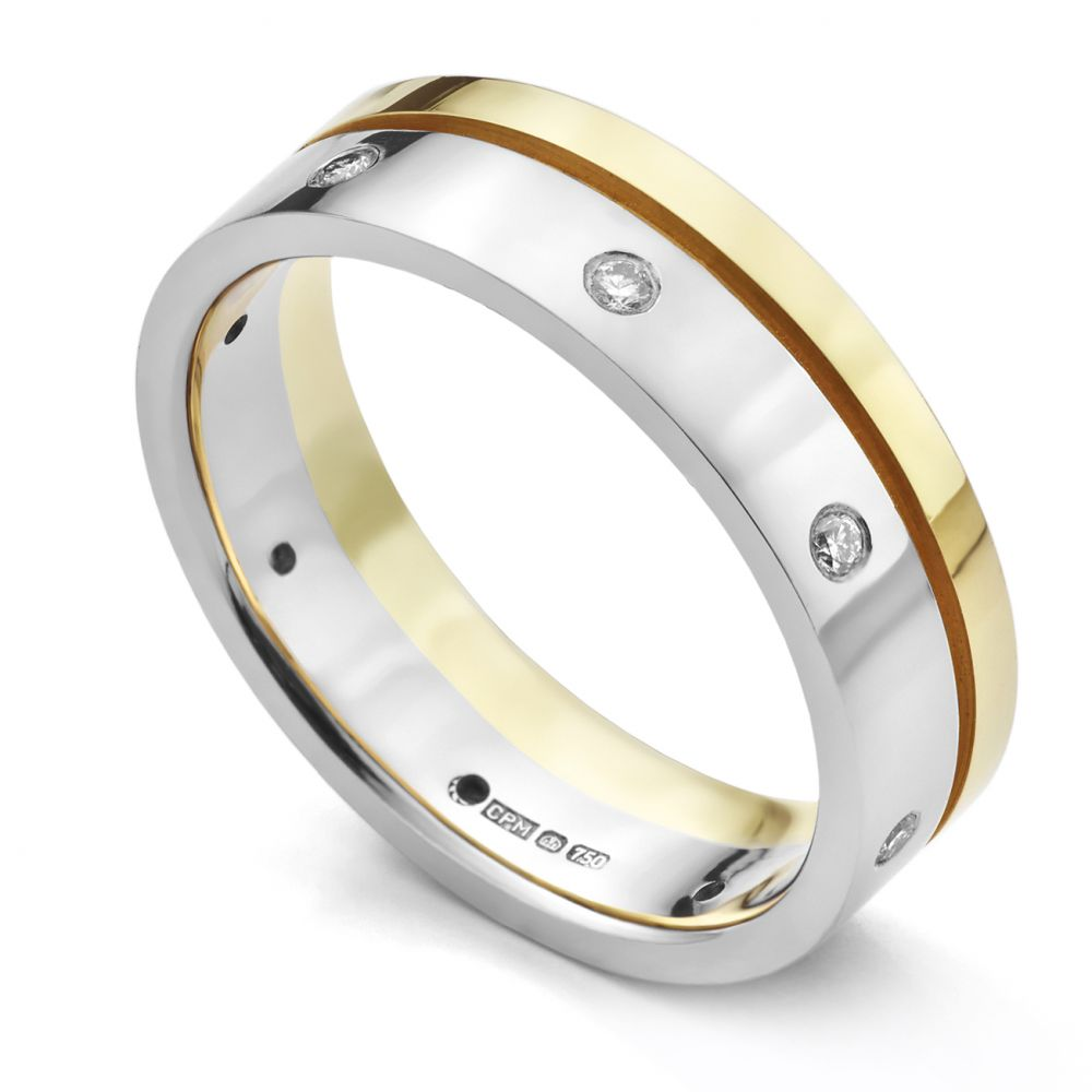 Yellow and White Gold Offset Diamond Wedding Ring