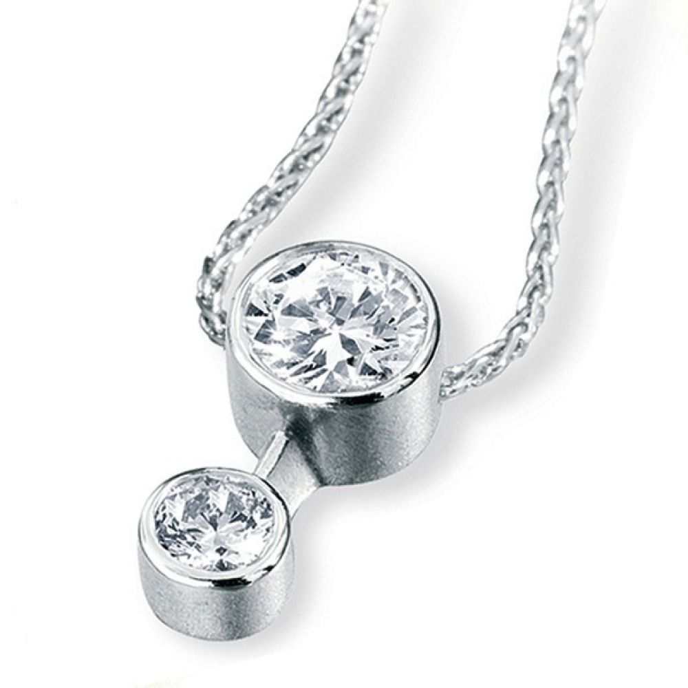 2 Stone Bezel Set Diamond Drop Pendant