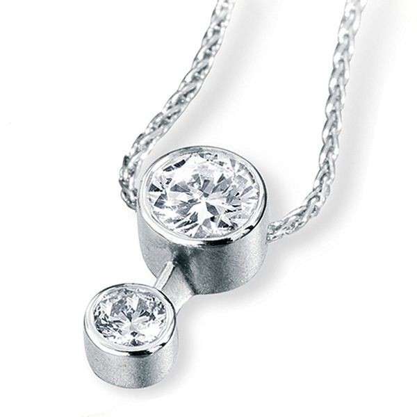 2 Stone Bezel Set Diamond Drop Pendant Main Image