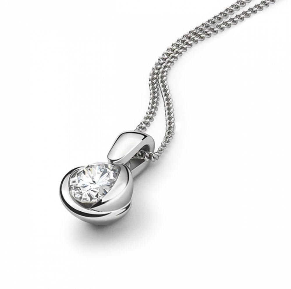 Rosebud Round Diamond Solitaire Pendant