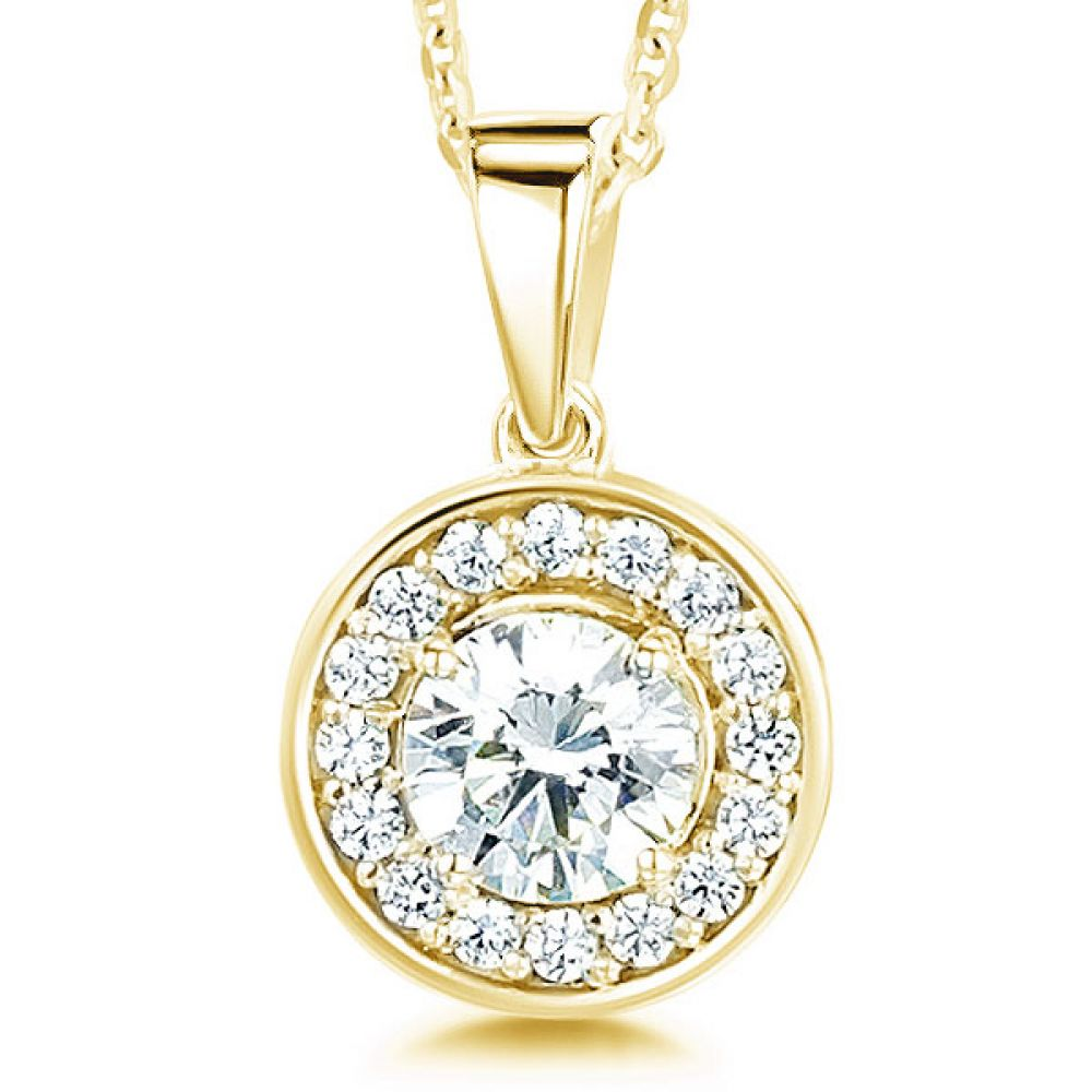 Modern Classic Round Diamond Halo Pendant In Yellow Gold