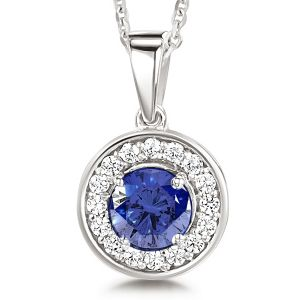Blue Sapphire and Diamond Halo Pendant Main Image