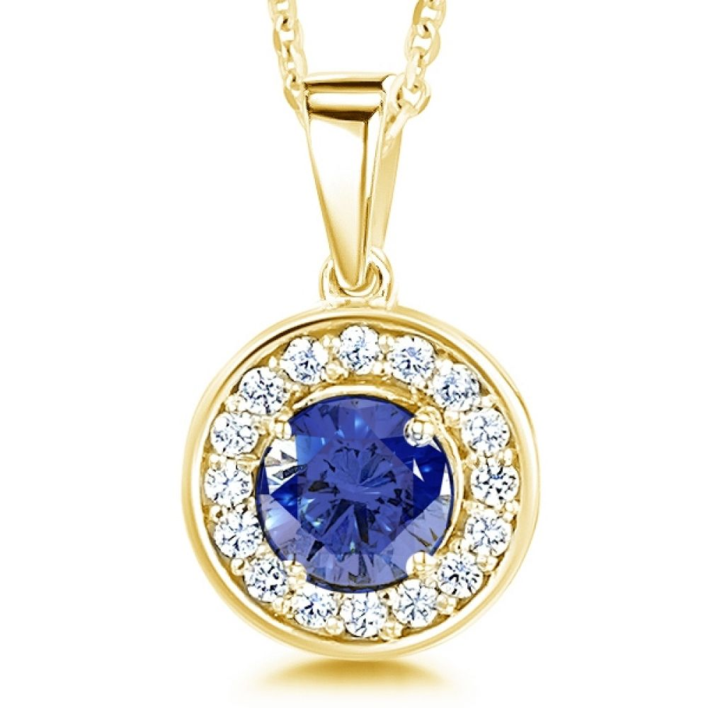 Blue Sapphire and Diamond Halo Pendant In Yellow Gold