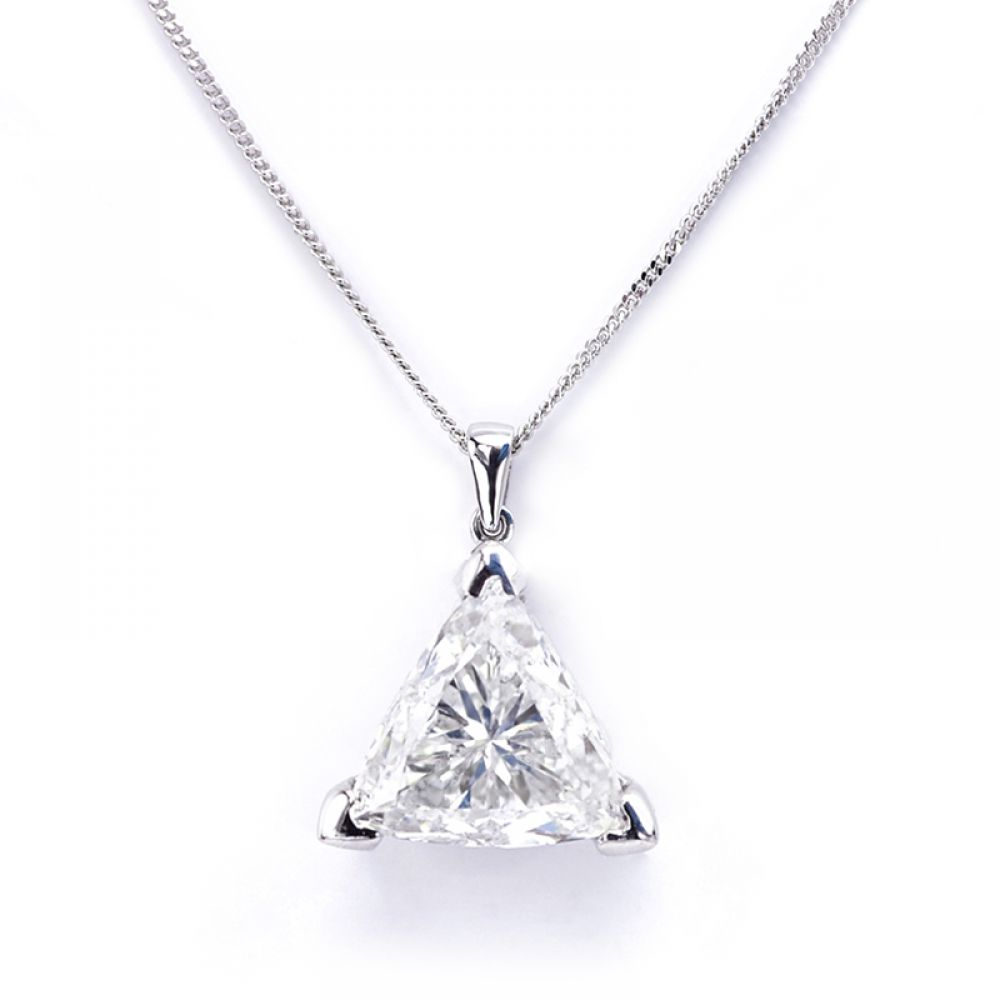 3 Claw Trilliant Cut Diamond Pendant