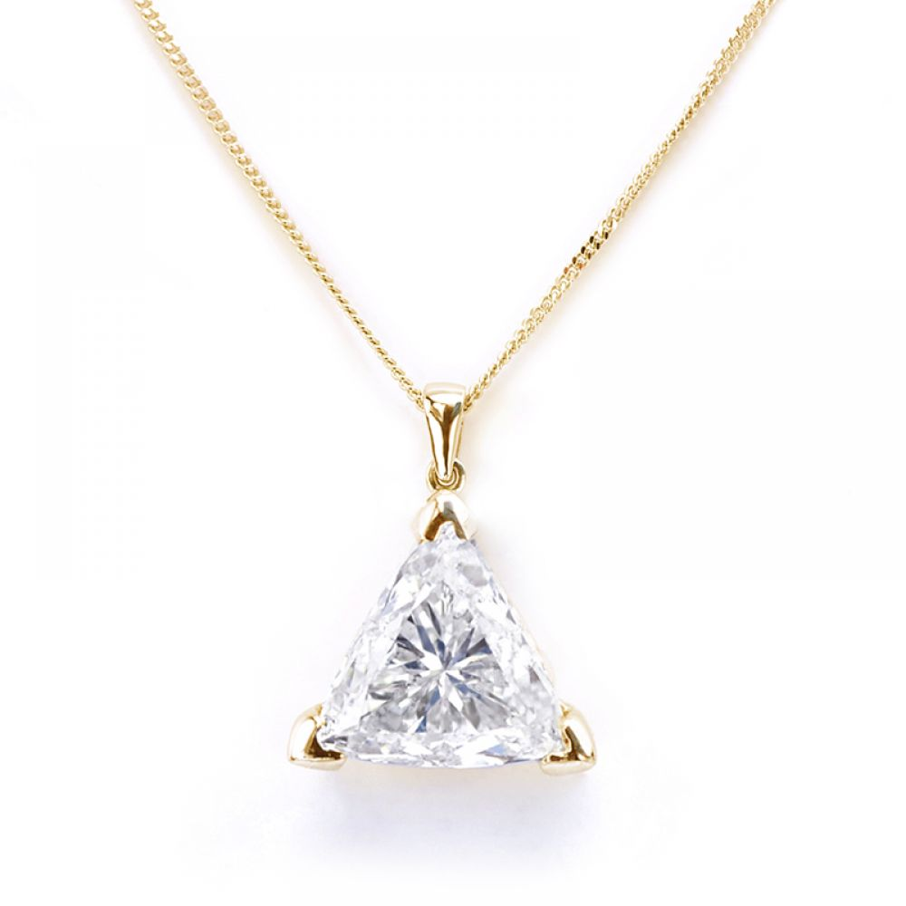 Yellow Gold Trilliant Diamond Pendant