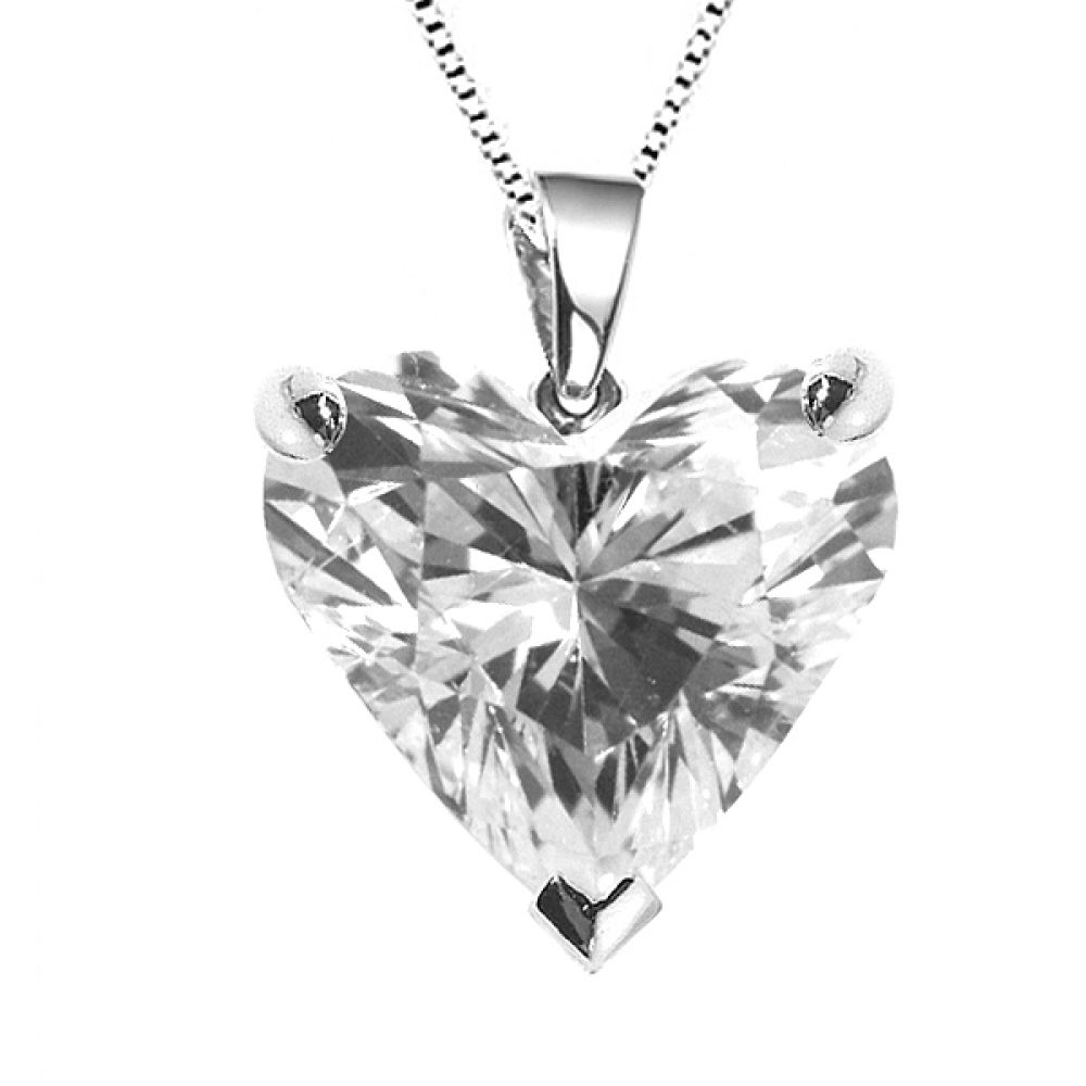 3 Claw Heart Shaped Diamond Solitaire Pendant