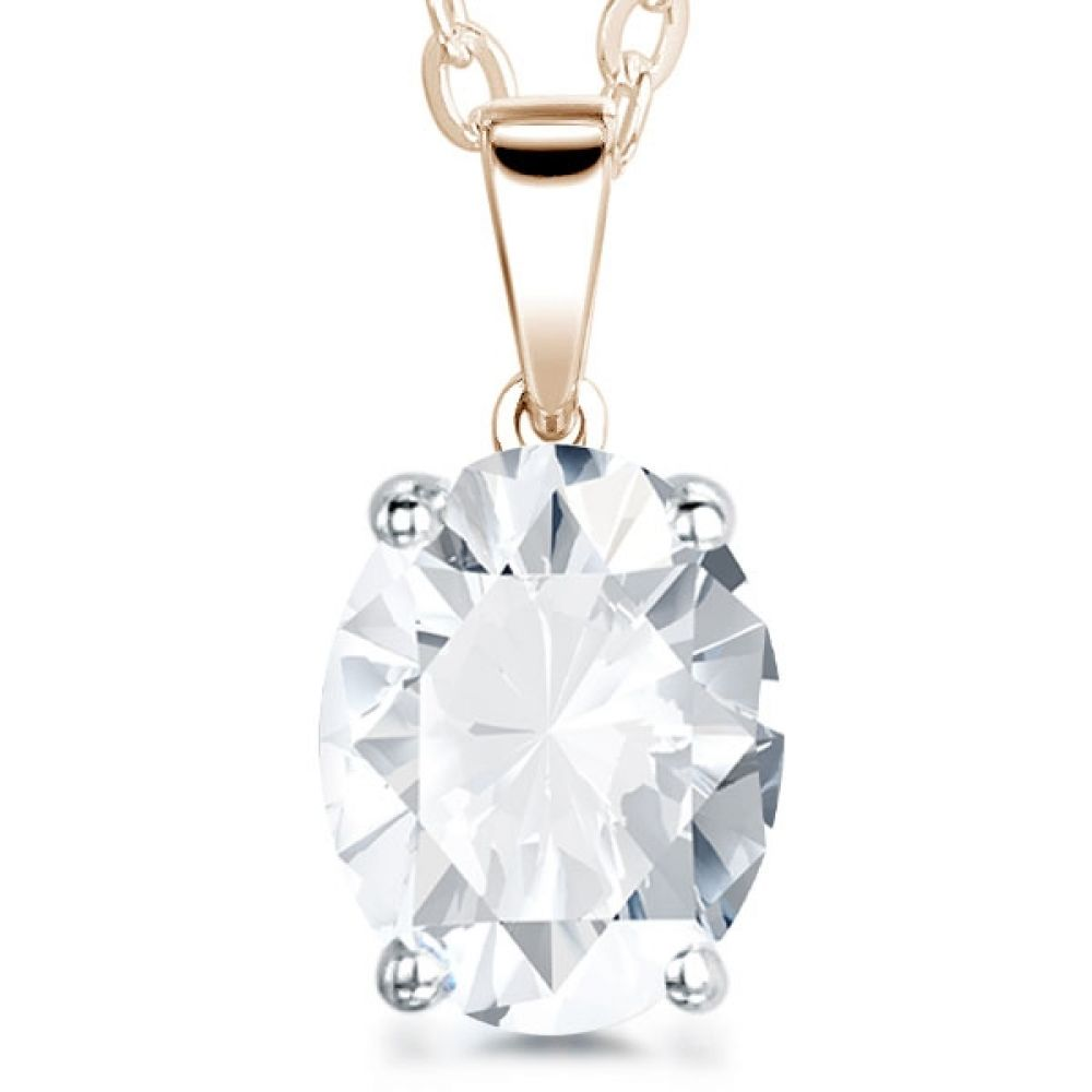 4 Claw Oval Diamond Solitaire Pendant In Rose Gold